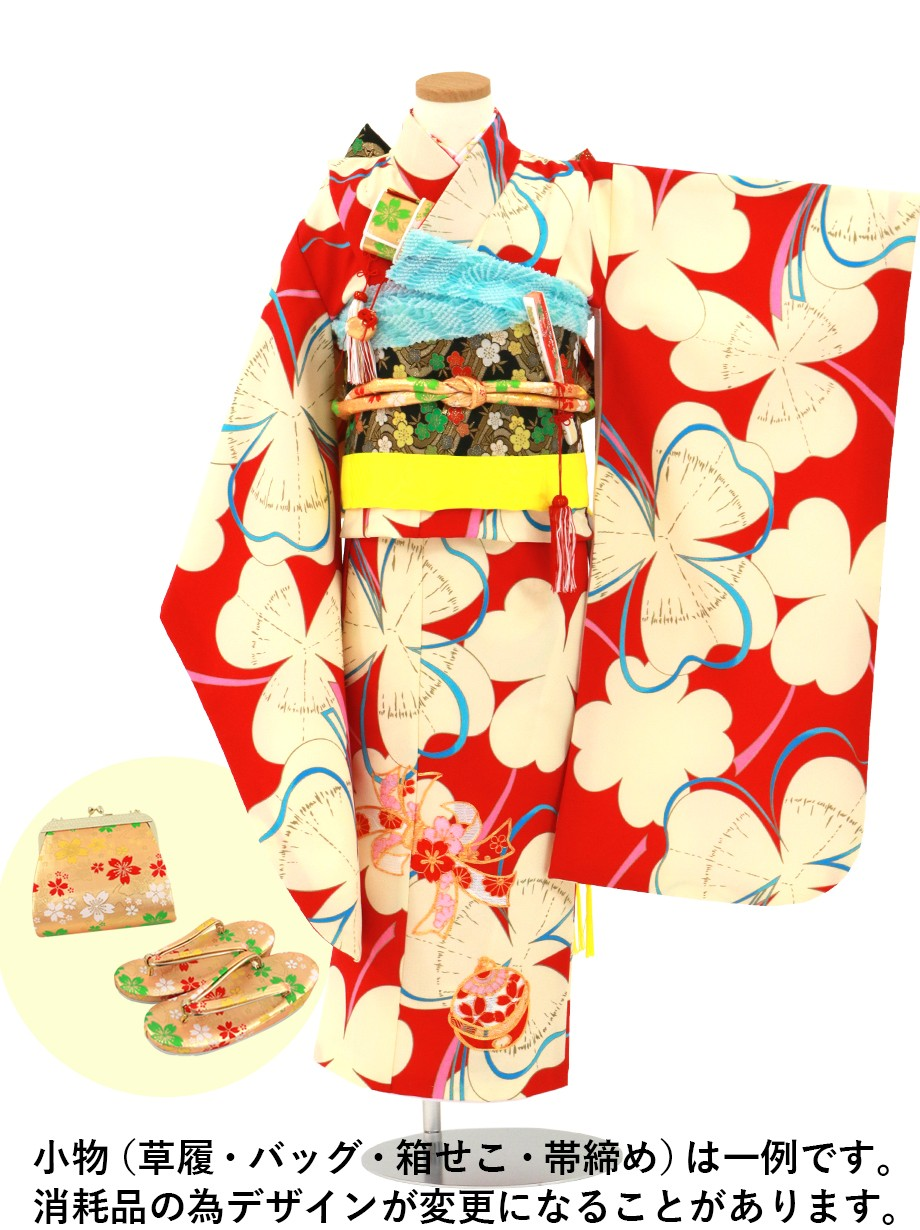 赤地にクリーム色のクローバーの着物/七五三・七歳女の子