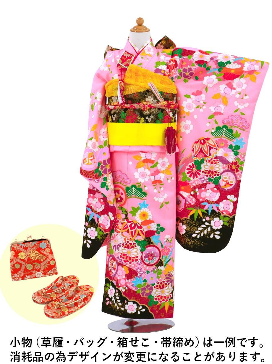 ピンク地に鞠と菊、桜の着物/七五三・七歳女の子
