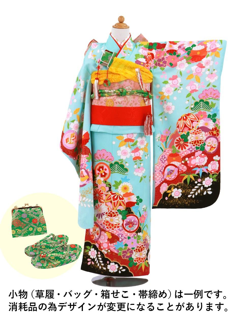 水色地に鞠と菊、桜の着物/七五三・七歳女の子