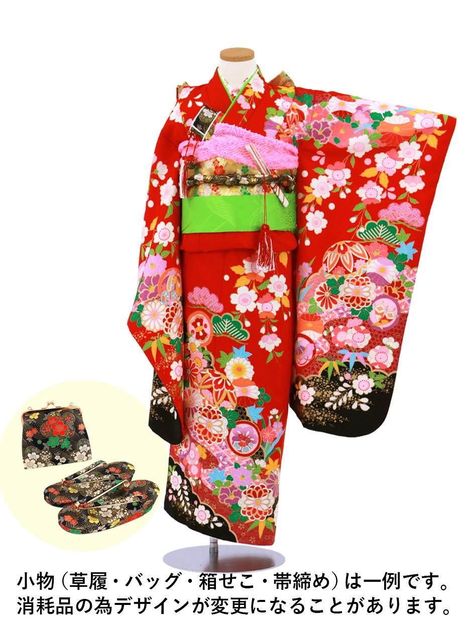 赤色地に鞠と菊、桜の着物/七五三・七歳女の子