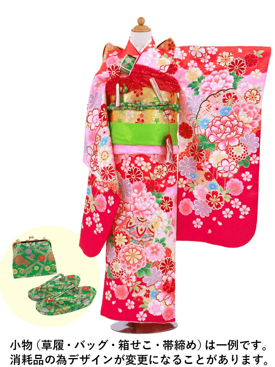 赤地に牡丹と鞠、菊の着物/七五三・七歳女の子
