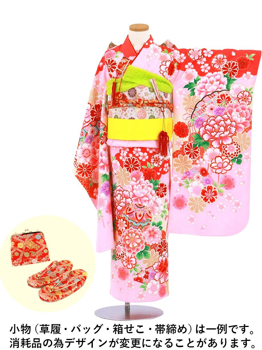 ピンク地に牡丹と鞠、菊の着物/七五三・七歳女の子