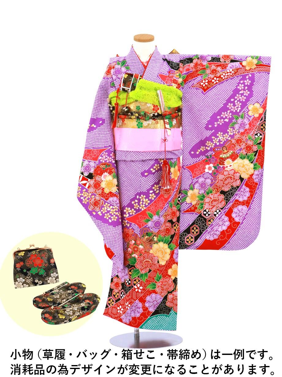 紫地に疋田(ひった)の熨斗、椿の着物/七五三・七歳女の子