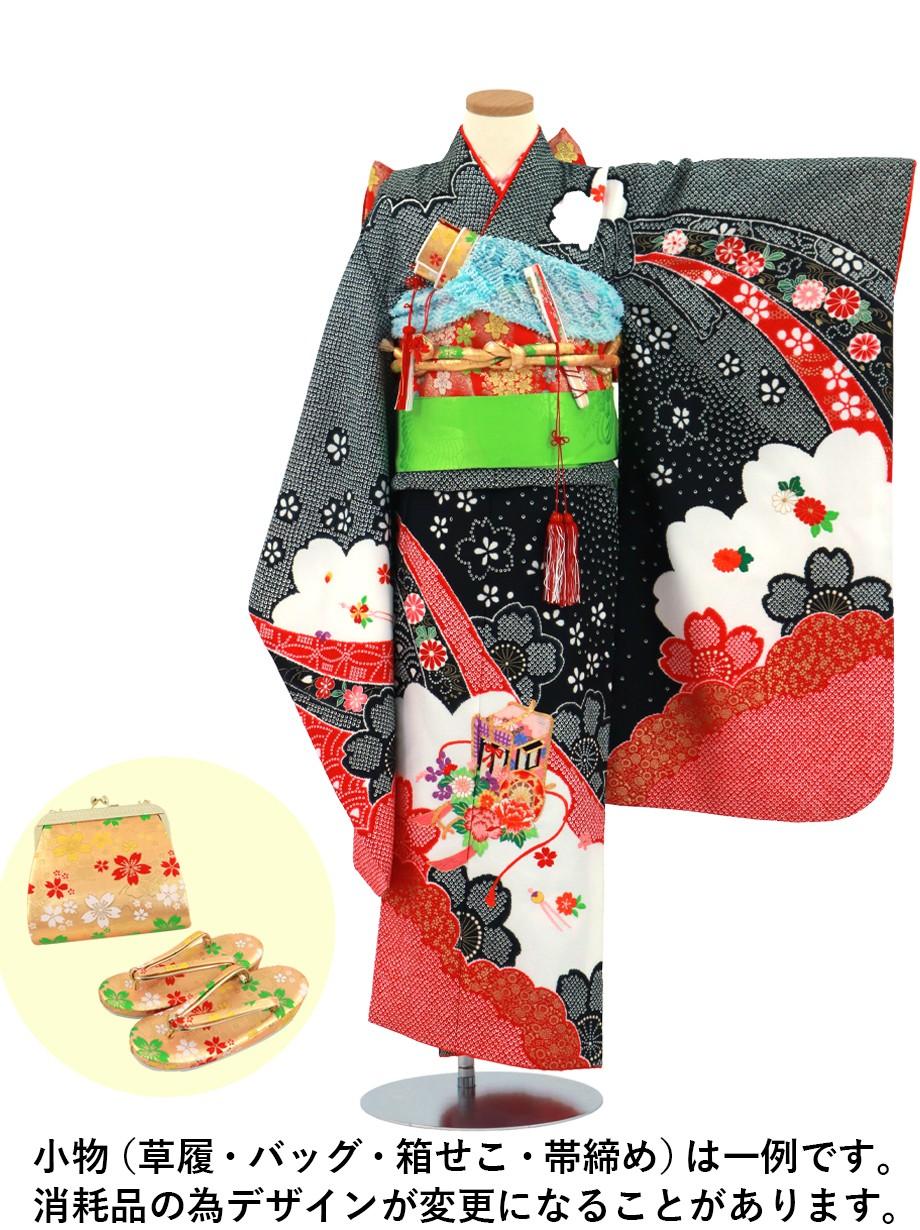 黒地に疋田(ひった)の桜、御所車の着物/七五三・七歳女の子