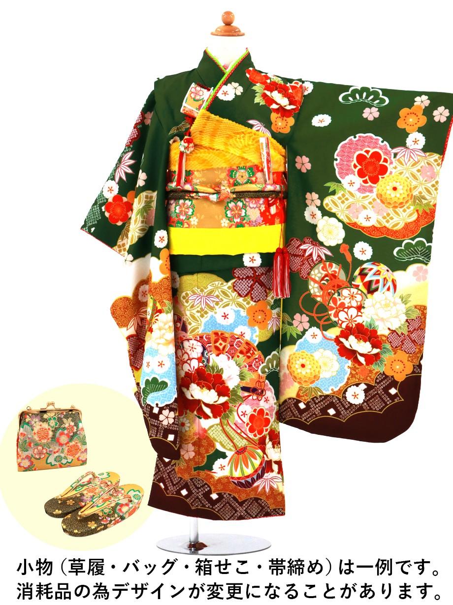 濃緑地に牡丹と扇の着物/七五三・七歳女の子