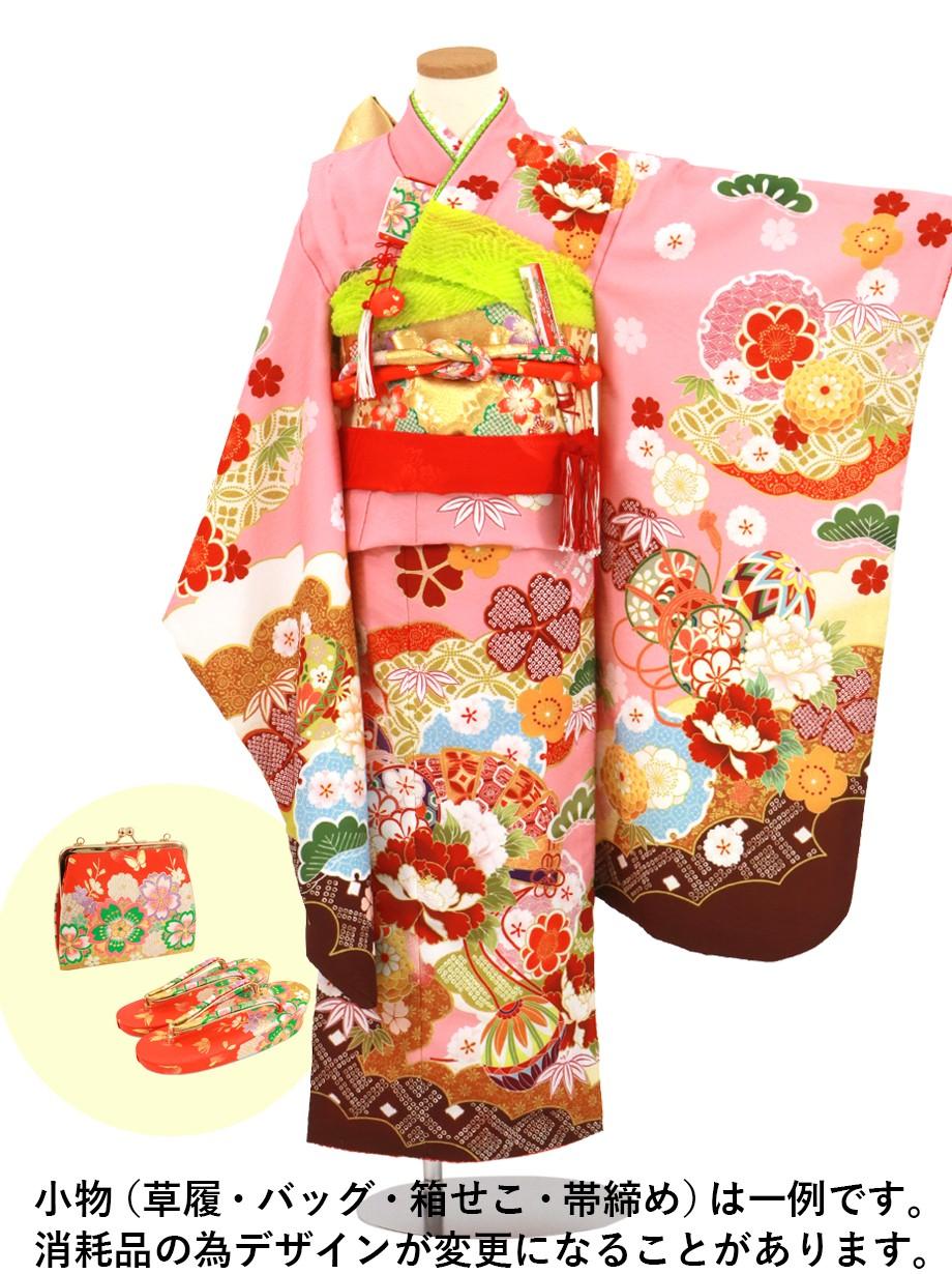 ピンク地に牡丹と扇の着物/七五三・七歳女の子