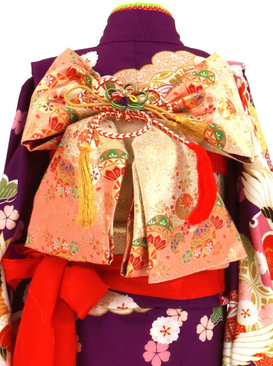 紫地に鶴に牡丹、鼓の着物/七五三・七歳女の子