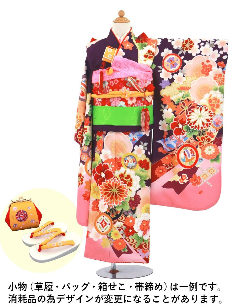 紫地に花尽くしと熨斗、鎌倉紋の着物/七五三・七歳女の子