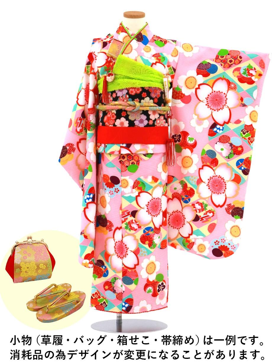 ピンク地に桜や橘のモダンな着物/七五三・七歳女の子