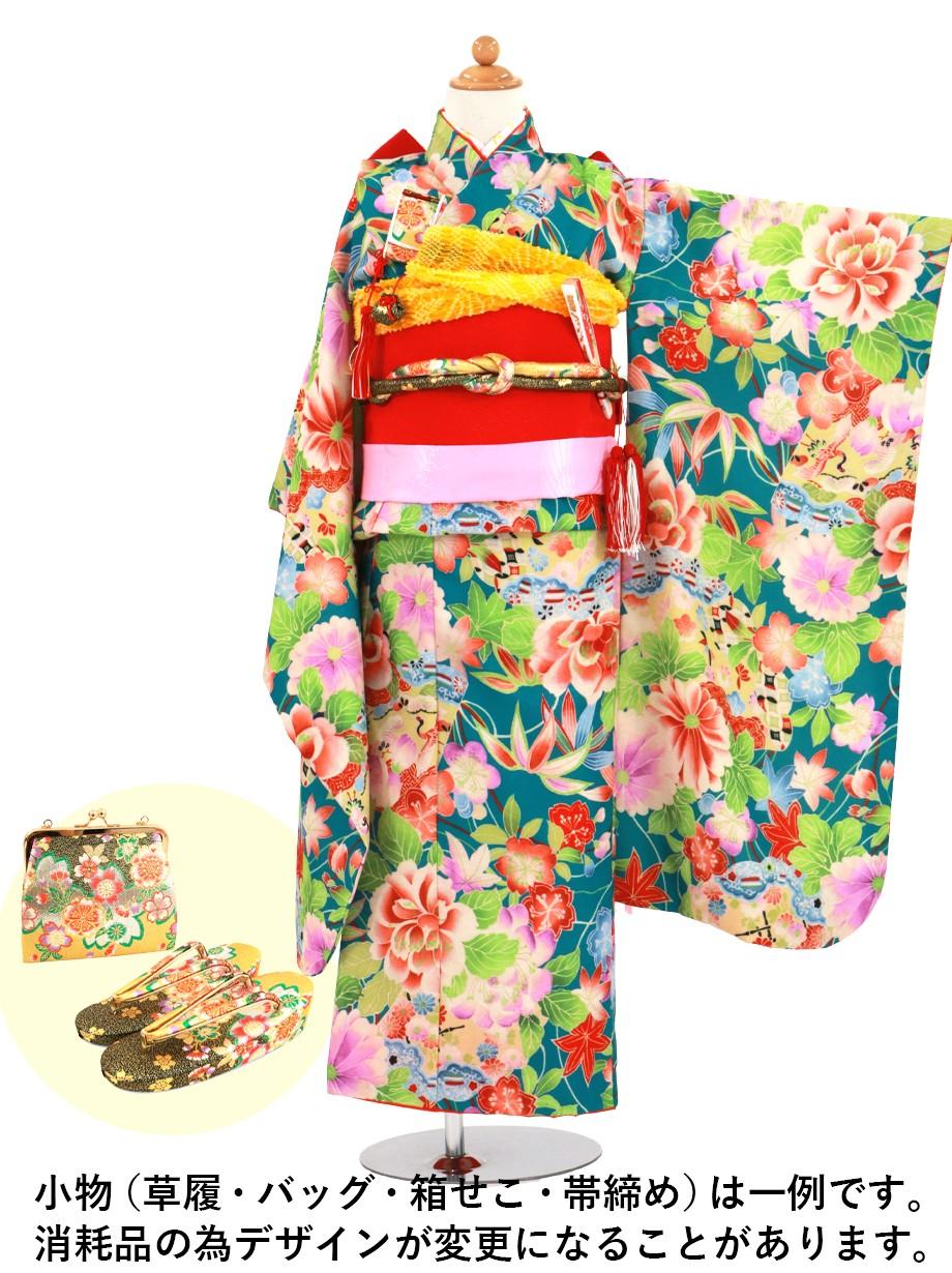 青地に牡丹と扇面、桜楓の着物/七五三・七歳女の子