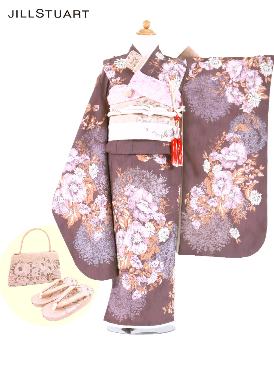 《JILLSTUART》紫地にアネモネの着物/七五三・七歳女の子