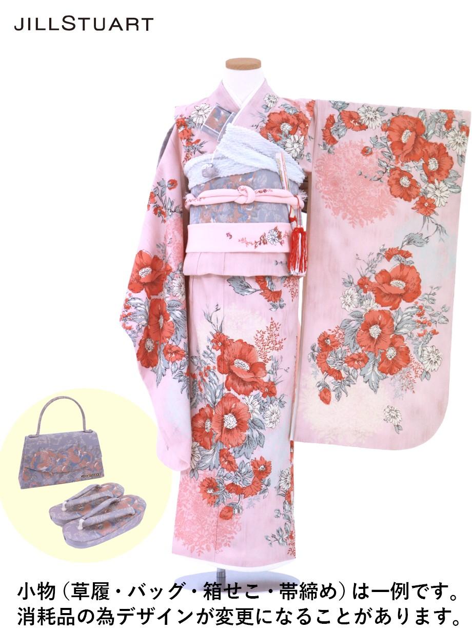 《JILLSTUART》ピンク地にアネモネの着物/七五三・七歳女の子
