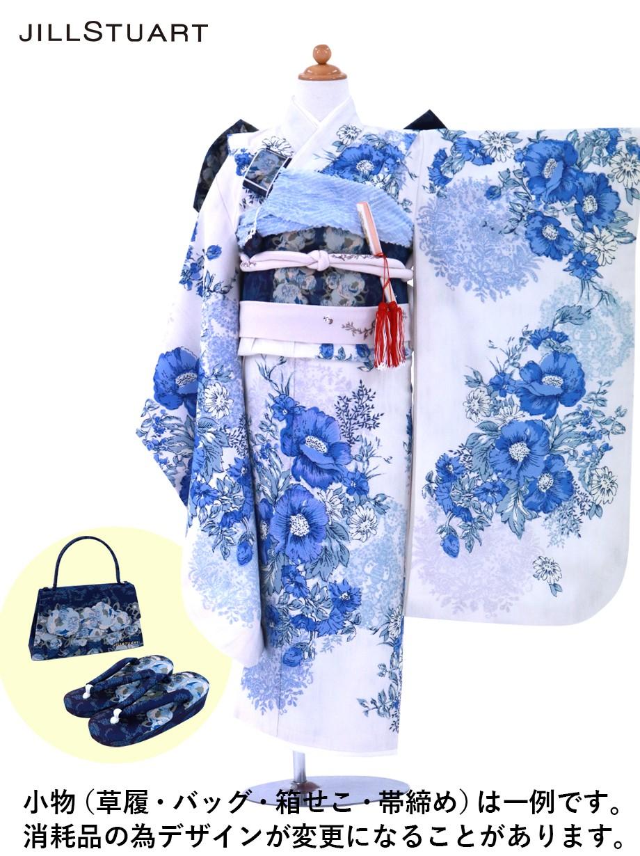 《JILLSTUART》白地にブルーのアネモネの着物/七五三・七歳女の子