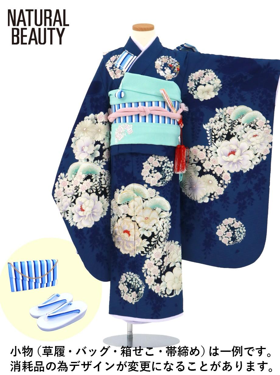 《NATURAL BEAUTY》紺地に花の丸文の着物/七五三・七歳女の子