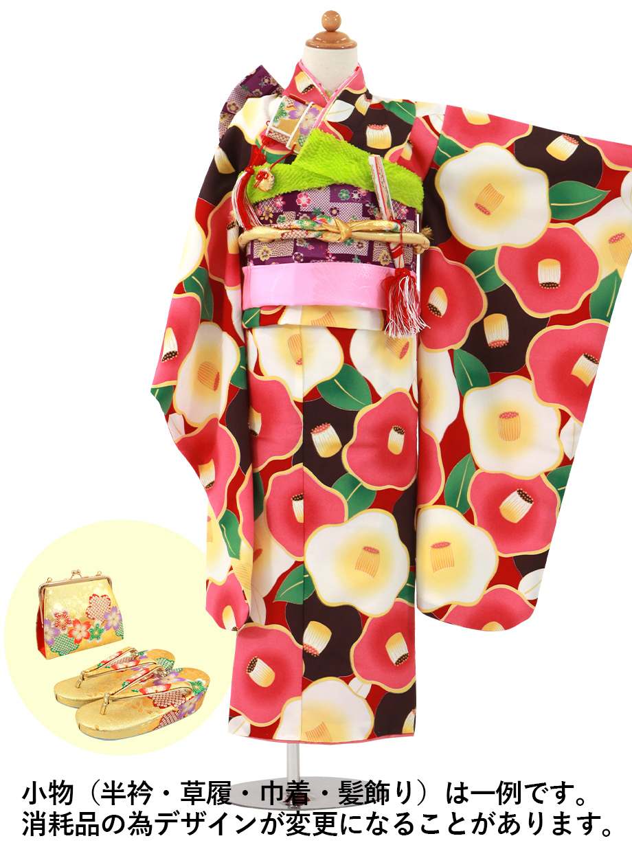赤地にピンクや茶色の椿の着物/七五三・七歳女の子