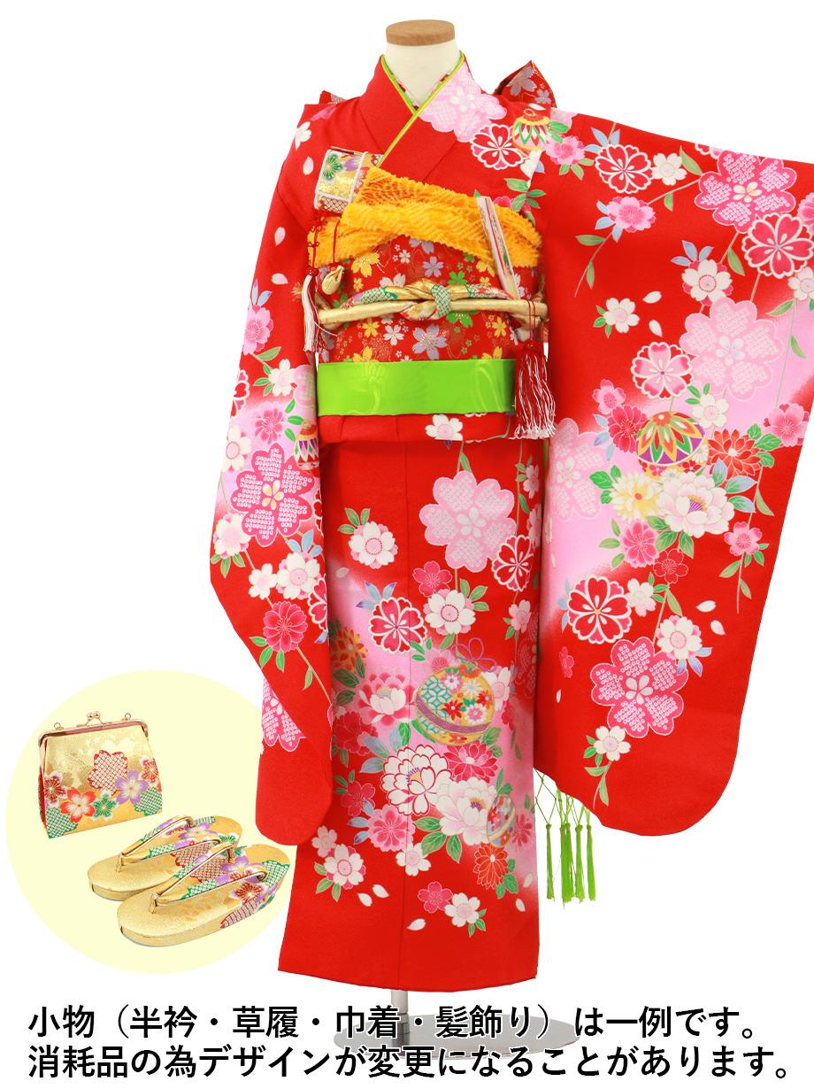 赤色に枝垂れ桜と鈴の着物/七五三・七歳女の子*