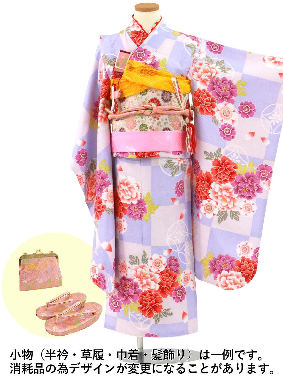薄紫とピンクの市松に牡丹の着物/七五三・七歳女の子