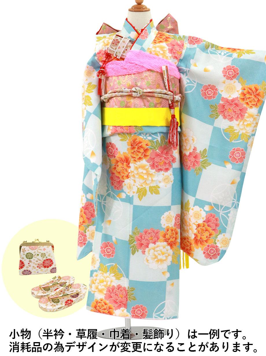 水色の市松に牡丹の着物/七五三・七歳女の子