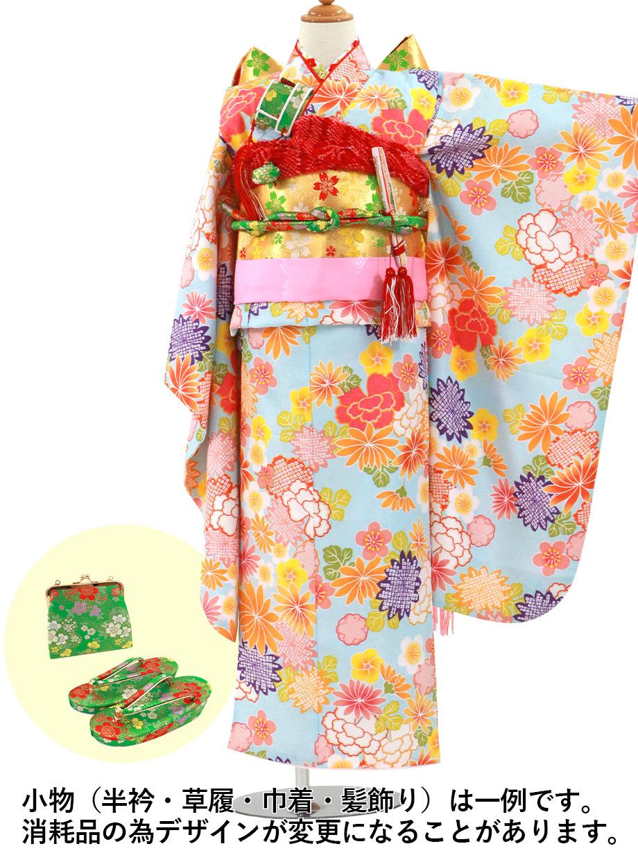水色地にカラフルな四季花の着物/七五三・七歳女の子