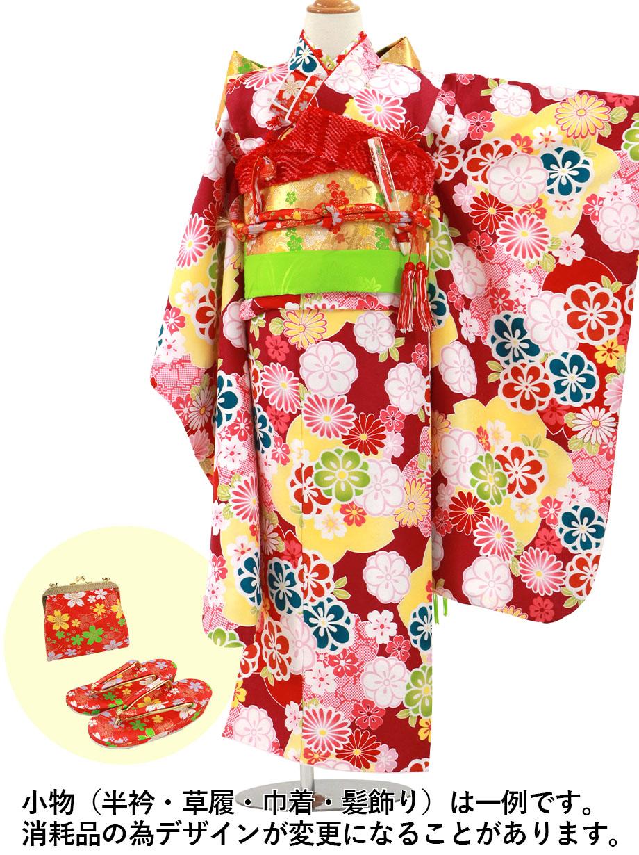 赤紫地に梅尽くしの着物/七五三・七歳女の子