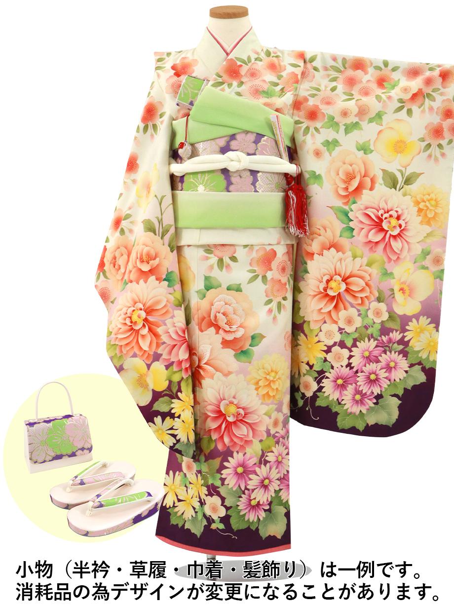 《乙葉》白と紫にダリアの着物/七五三・七歳女の子