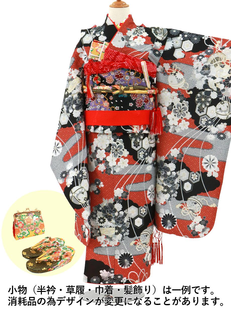 赤地に疋田のエ霞の着物/七五三・七歳女の子