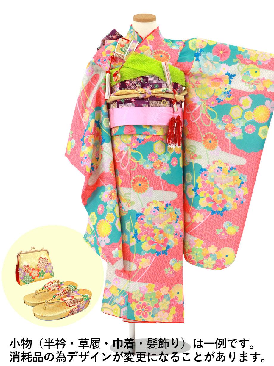 珊瑚色に疋田のエ霞の着物/七五三・七歳女の子