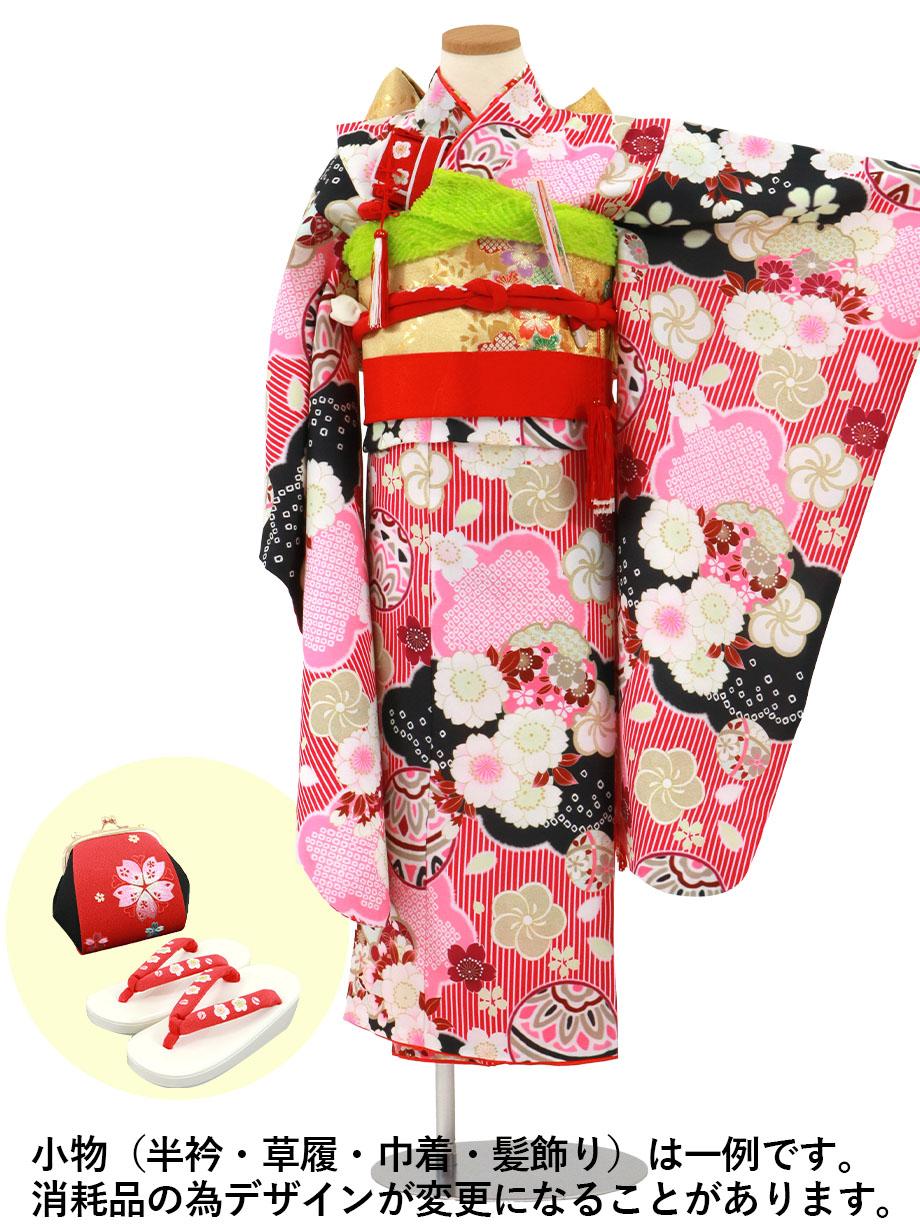濃ピンクのストライプに鞠と桜の着物/七五三・七歳女の子
