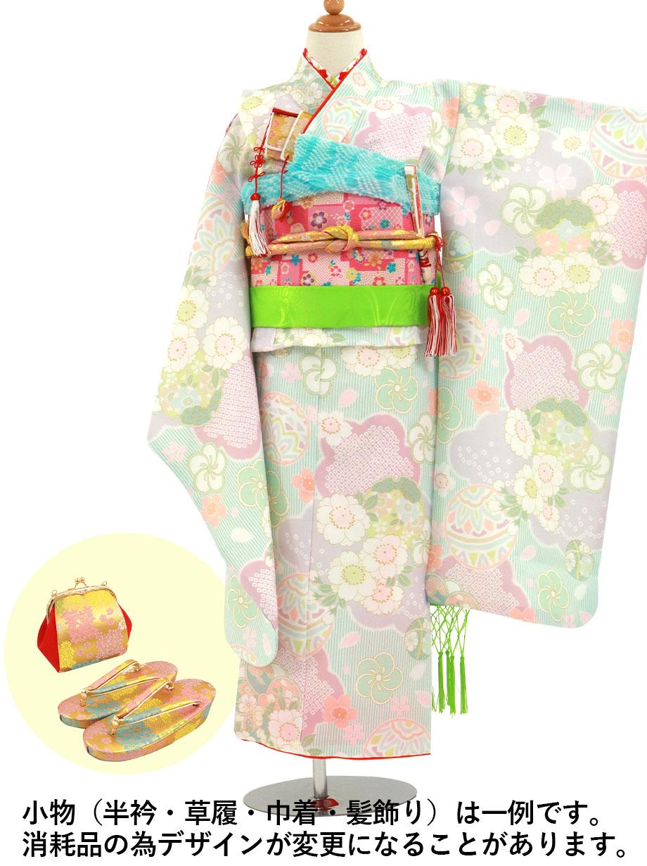 ライムグリーンのストライプに鞠と桜の着物/七五三・七歳女の子