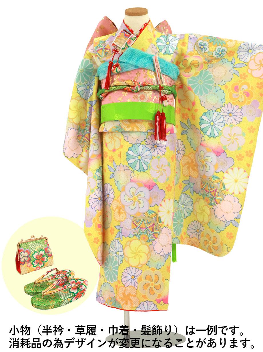 黄色の麻の葉にねじり梅や菊の着物/七五三・七歳女の子