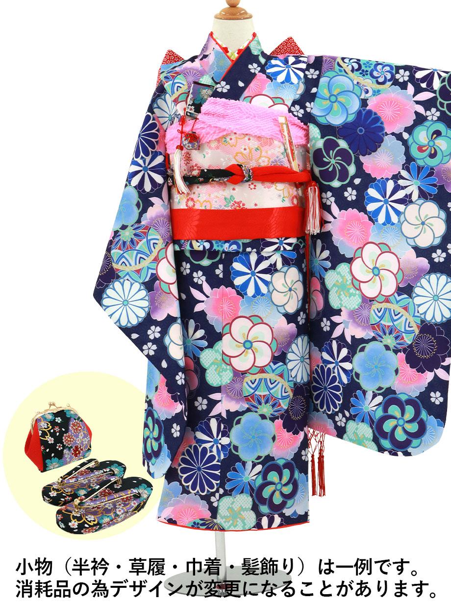 青紫の麻の葉にねじり梅や菊の着物/七五三・七歳女の子