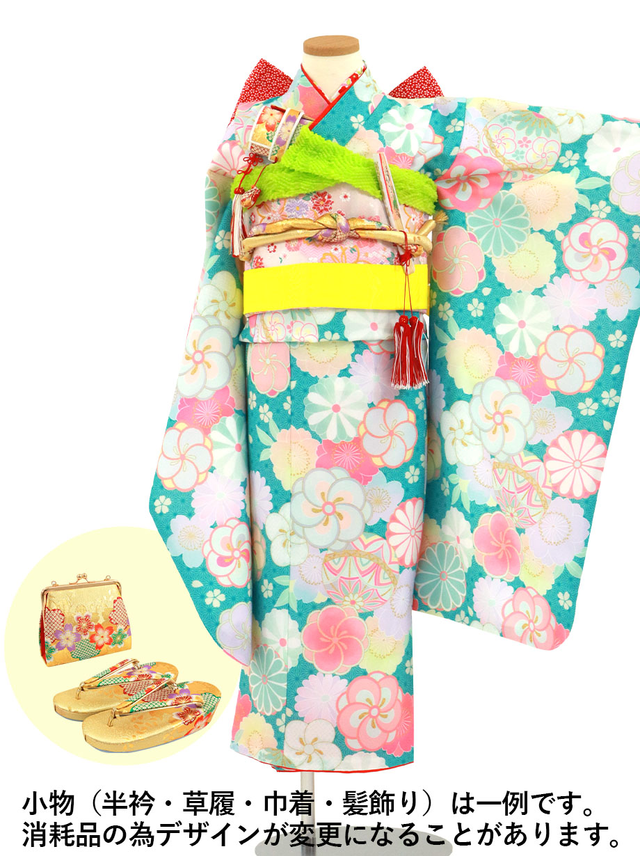 青緑の麻の葉にねじり梅や菊の着物/七五三・七歳女の子