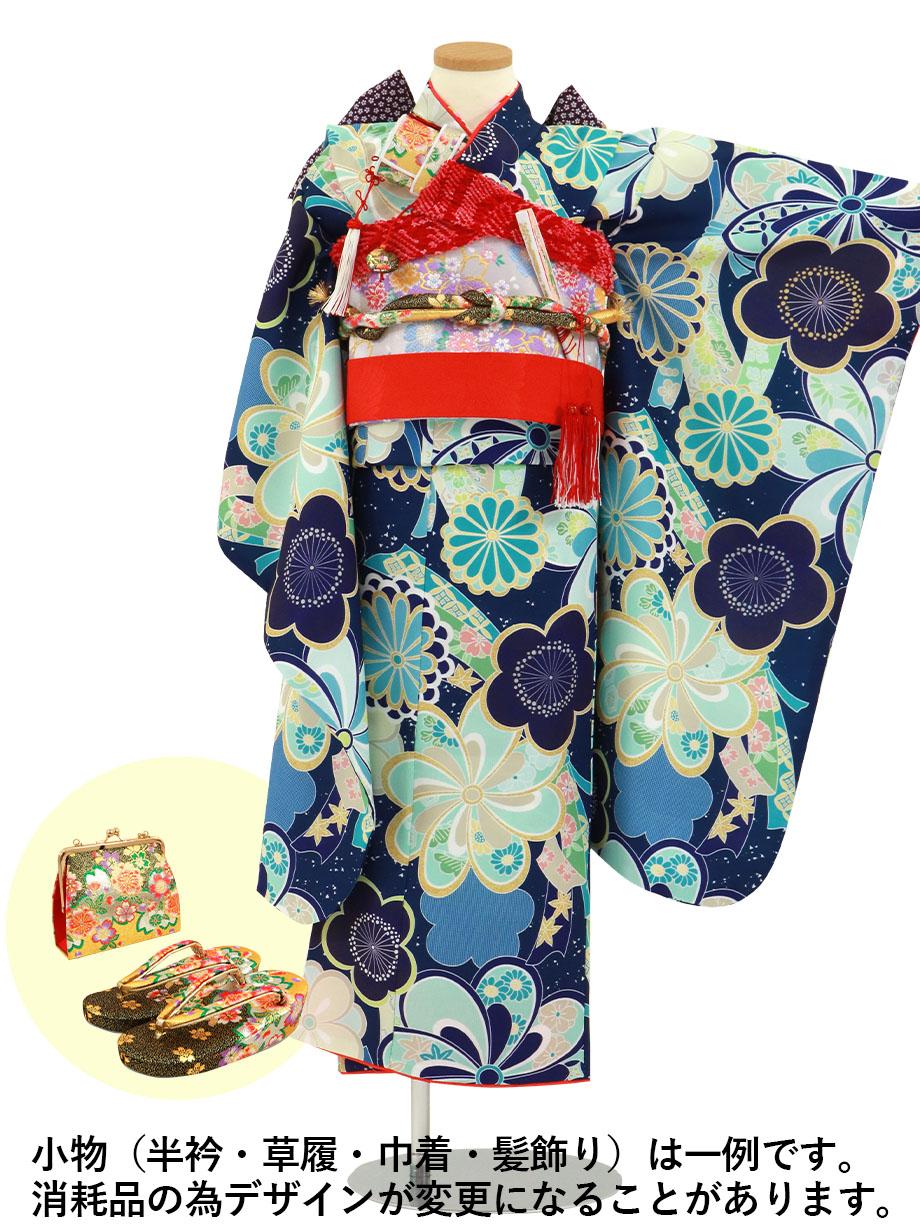 紺地にねじり菊と梅の着物/七五三・七歳女の子