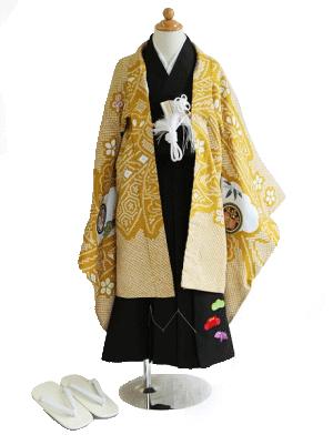 辛子色に染め疋田(ひった)(兜)/小さめサイズ/七五三・五歳男の子・袴