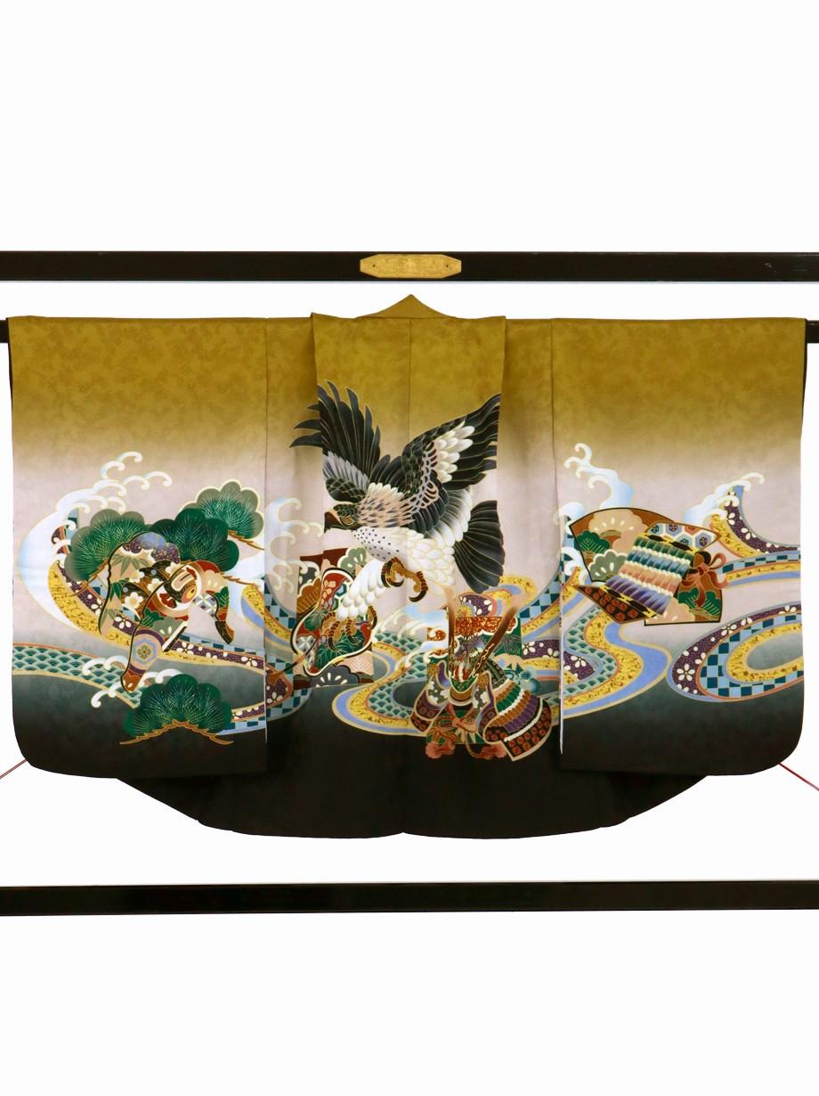 黄唐茶地に鷹や兜、黒の袴/七五三・五歳男の子・袴