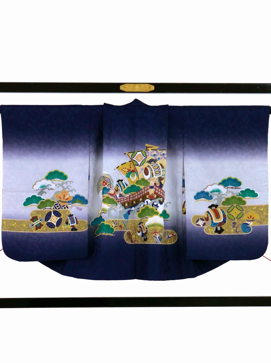 濃い青色地に宝船、菱の袴/七五三・五歳男の子・袴