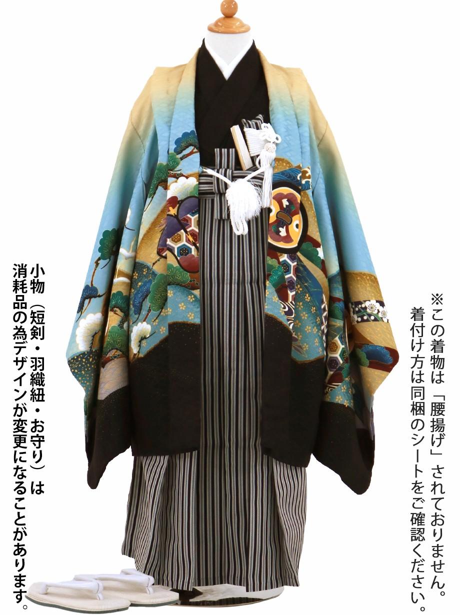 クリーム地に鷹と小槌、黒縞の袴/七五三・五歳男の子・袴