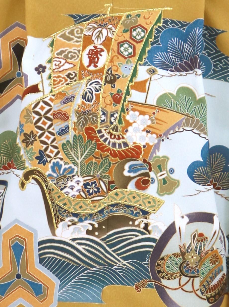 山吹茶地に宝船と毘沙門亀甲、深灰の袴/七五三・五歳男の子・袴