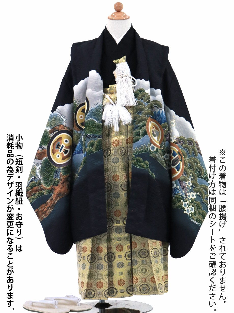 黒地に鷹と富士山、金襴の袴/七五三・五歳男の子・袴