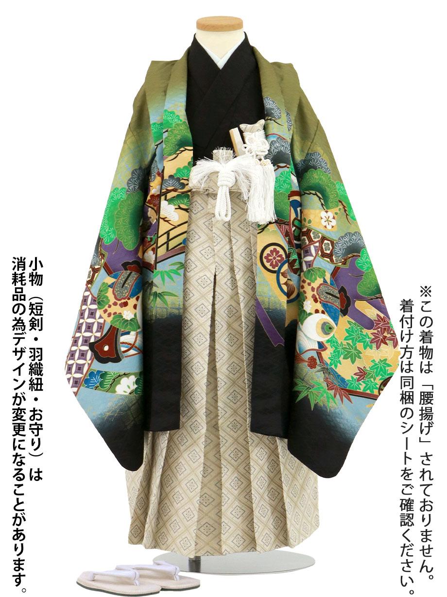 抹茶地に鷹と屏風、白グレーの袴/小さめサイズ/七五三・五歳男の子・袴