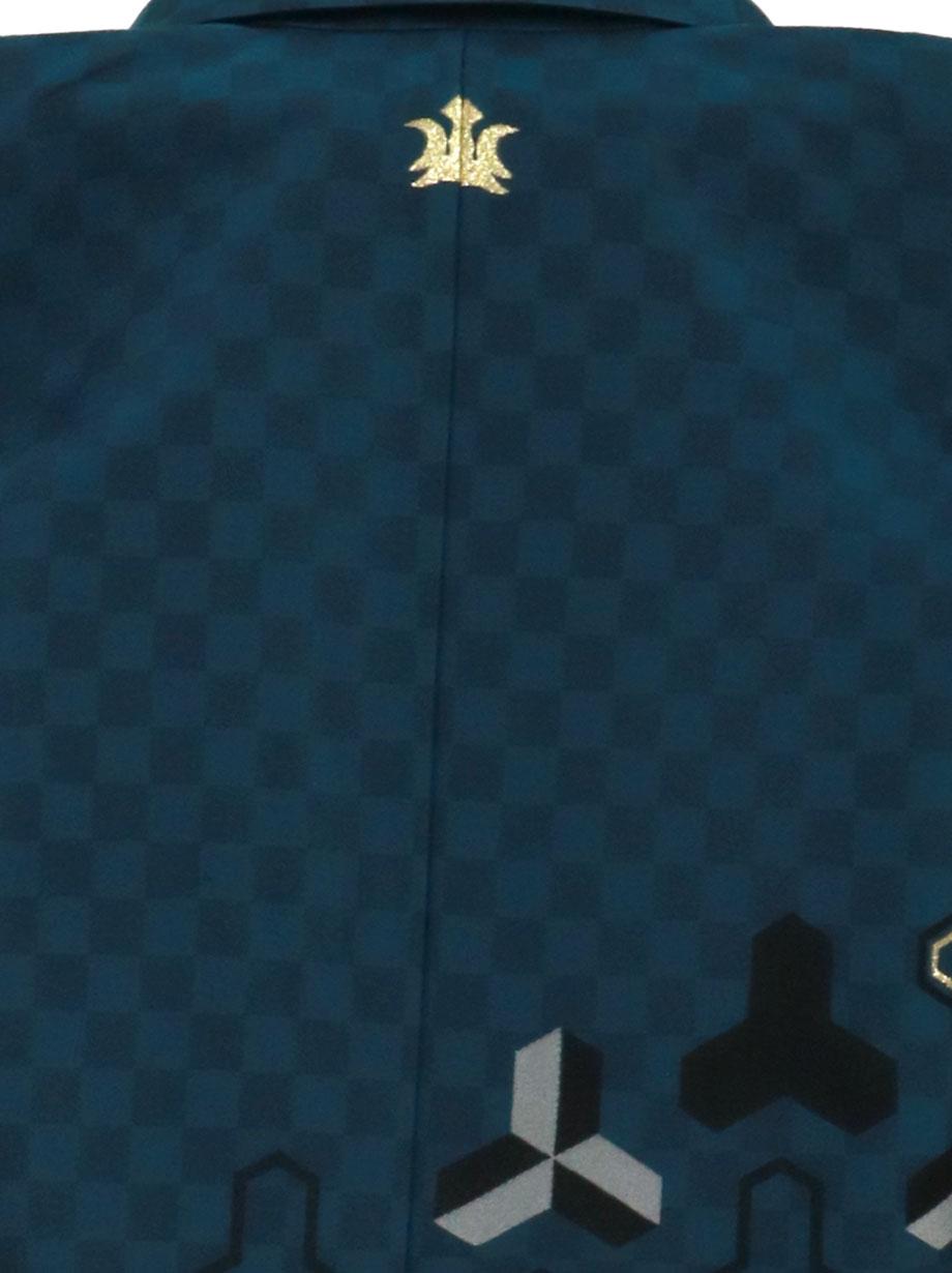 《ひさかたろまん》青緑地に毘沙門亀甲、グレーの袴/七五三・五歳男の子・袴*
