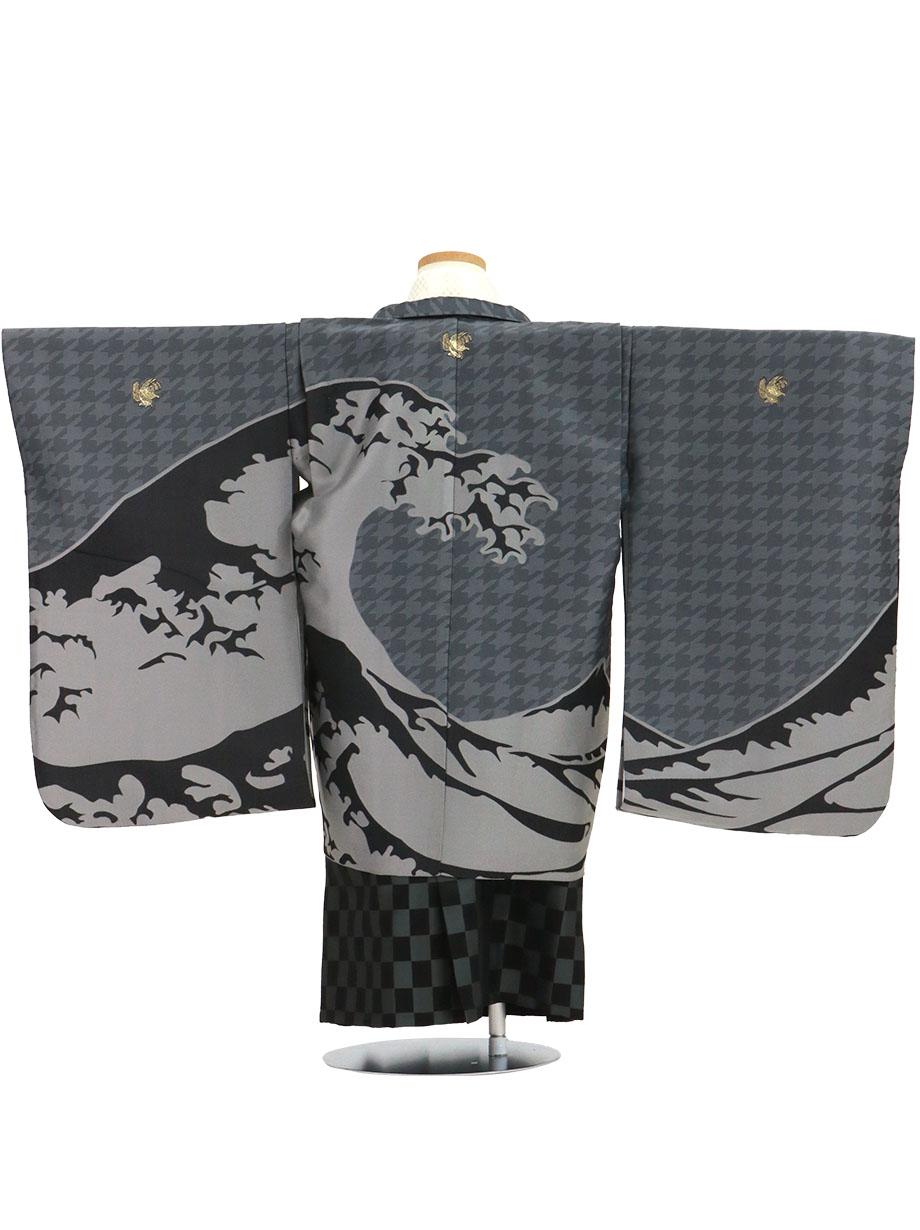《ひさかたろまん》グレー地に波、市松の袴/七五三・五歳男の子・袴*