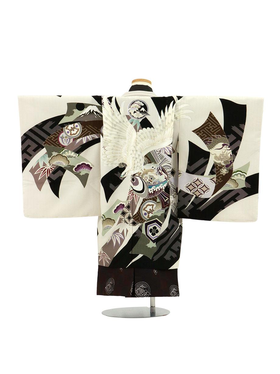 《JAPAN STYLE×松坂大輔》白地に白の鷹、黒の市松の袴/小さめサイズ/七五三・五歳男の子・袴