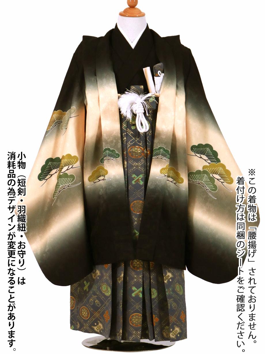 黒地に熨斗(のし)と松、グレー袴/七五三・五歳男の子・袴*