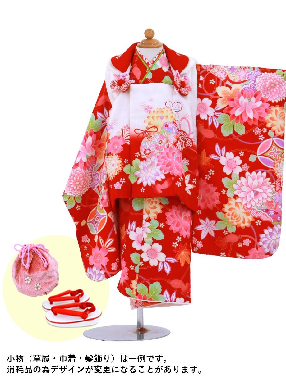 赤色に檜扇と花の被布コートセット/七五三・三歳女の子