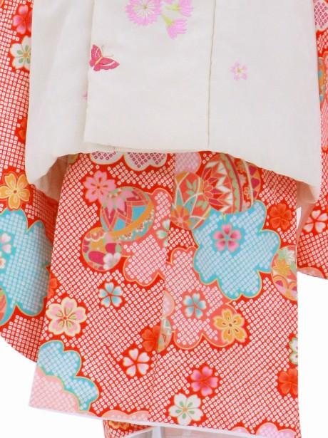 赤の疋田地に桜と鞠の被布コートセット/七五三・三歳女の子