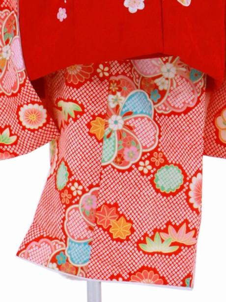 赤の疋田地に四季花の被布コートセット/七五三・三歳女の子
