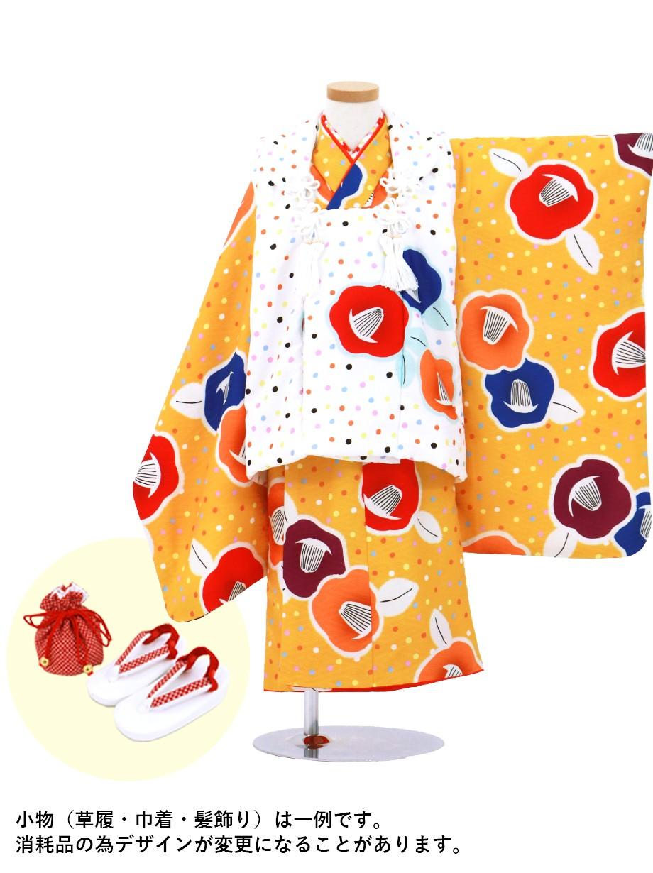橙色に椿、白の水玉の被布コートセット/七五三・三歳女の子