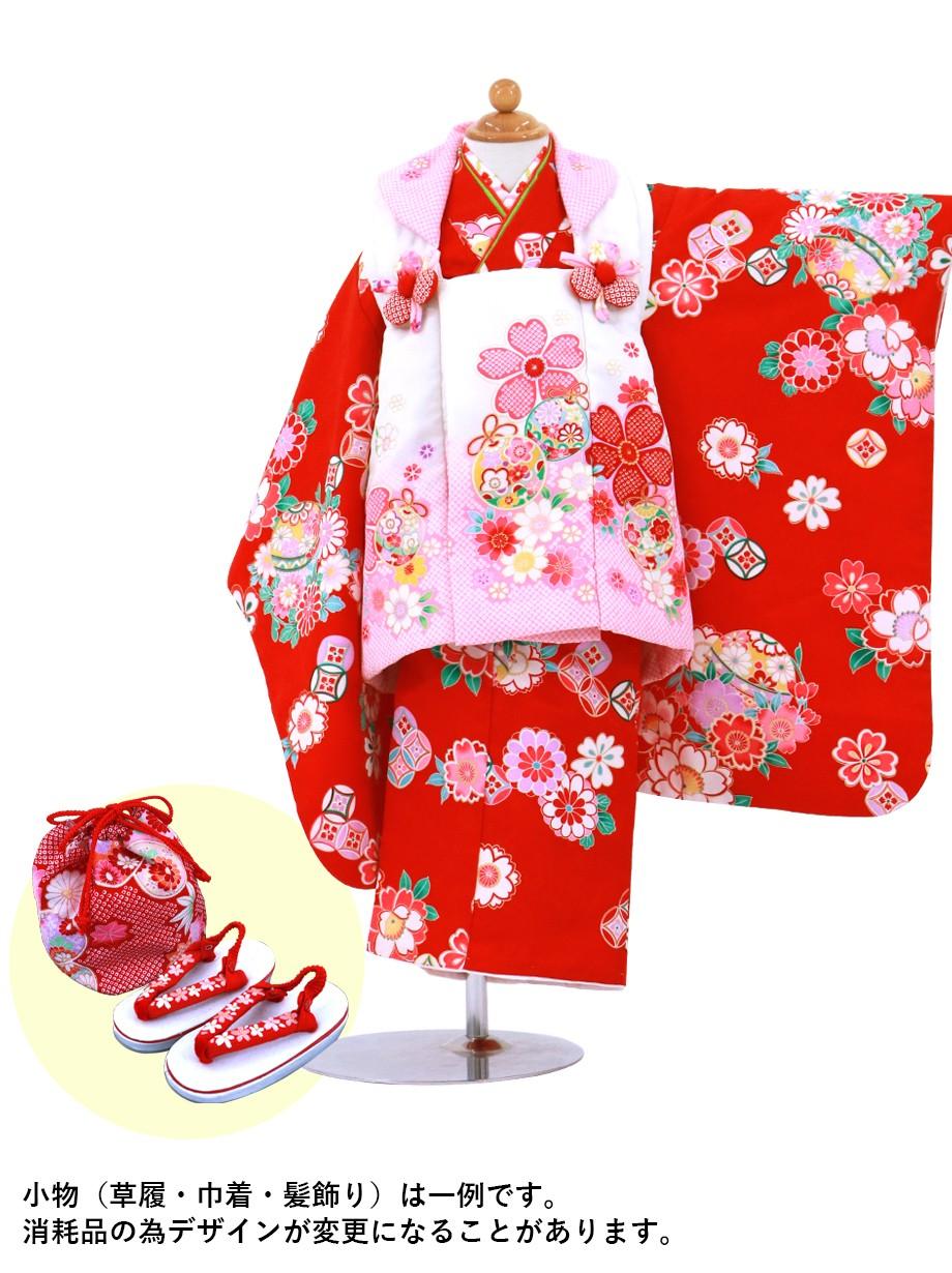 赤地に鞠と桜、白とピンクの被布コートセット/七五三・三歳女の子