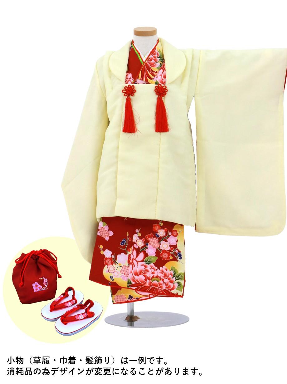 臙脂に菊の着物にクリームイエローの被布コートセット/七五三・三歳女の子